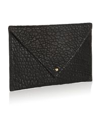 Clare V. Black Textured-Leather Envelope Clutch