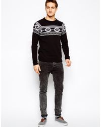 ASOS - Black Sweater with Geotribal Pattern for Men - Lyst