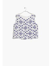 Mango White Embroidered Top