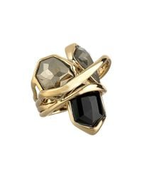 Alexis Bittar | Metallic Multi-stone Orbit W/ Fancy Pyrite, Pyrite Crystal Doublet & Black Crystal Kite Ring | Lyst