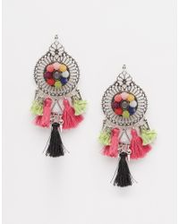 ASOS - Multicolor Pom Pom Party Earrings - Lyst
