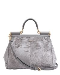 Dolce & Gabbana | Gray Mamma Xiangao Fur Top Handle Bag | Lyst