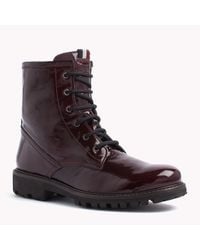 Tommy Hilfiger | Red Patent Leather Boot | Lyst