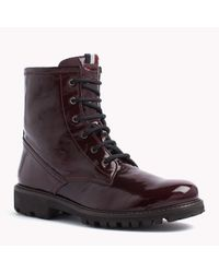 Tommy Hilfiger - Red Patent Leather Boot - Lyst