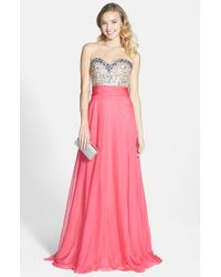 Mac Duggal - Pink Embellished Ruched Gown - Lyst
