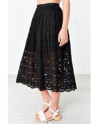 Kimchi Blue - Black Lace Midi Skirt - Lyst