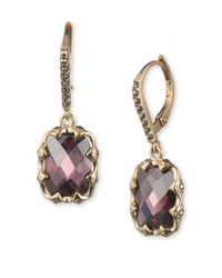 Judith Jack | Purple 10k Gold-plated 925 Sterling Silver, Marcasite And Faux Amethyst Drop Earrings | Lyst