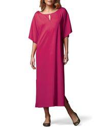 Joan Vass | Pink Keyhole-front Long Dolman Dress | Lyst