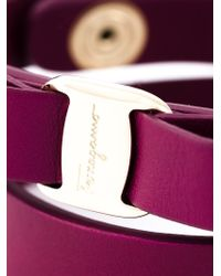 Ferragamo - Purple 'Vara' Bow Bracelet - Lyst