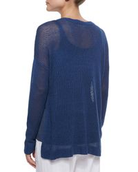 Eileen Fisher - Blue Airy Linen Box Top - Lyst