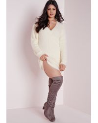 Missguided | Natural Plus Size Oversized Fluffy Jumper Cream | Lyst