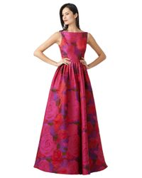 Adrianna Papell | Purple Floral Print A Line Gown | Lyst