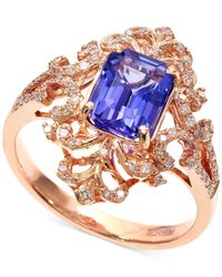 Effy Collection | Blue Tanzanite (1-1/3 Ct. T.w.) And Diamond (1/4 Ct. T.w.) Antique Ring In 14k Rose Gold | Lyst