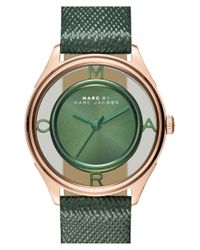 Marc By Marc Jacobs | Green 'tether' Skeleton Leather Strap Watch | Lyst
