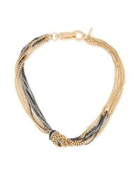 Kenneth Cole - Metallic New York Goldtone and Blue Mixed Chain Knotted Frontal Necklace - Lyst