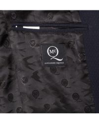 McQ   Blue Slim-Fit Faux Leather-Trimmed Textured Cotton-Blend Tuxedo Blazer for Men   Lyst
