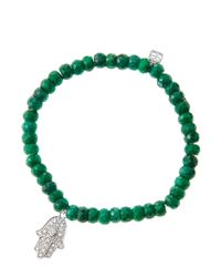 Sydney Evan | Metallic 6Mm Faceted Emerald Beaded Bracelet With 14K White Gold/Diamond Medium Hamsa Charm (Made To Order) | Lyst