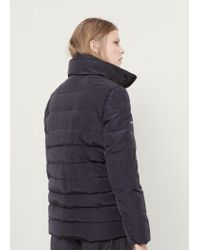 Violeta by Mango - Blue Quilted Feather Long Coat - Lyst