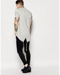 ASOS | Gray Super Longline T-shirt With Fishtail Hem In Inject Fabric for Men | Lyst
