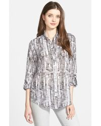 Foxcroft | Black Distressed Zigzag Print Roll Sleeve Blouse | Lyst