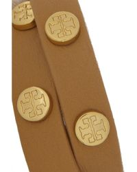 Tory Burch Brown Studded Leather Double Wrap Bracelet