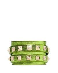 Valentino | Green Rockstud Double Wrap Leather Bracelet | Lyst