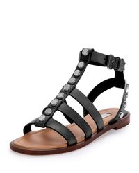 Balenciaga - Black Studded Leather Gladiator Sandals - Lyst