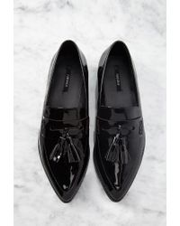 Forever 21 | Black Pointed Faux Patent Flatform Loafers | Lyst