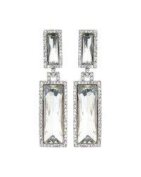 Mikey | White Twin Rectangle Design Drop Earring | Lyst