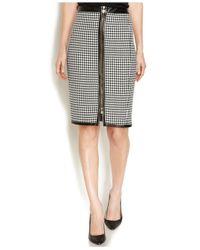 Anne Klein Black Houndstooth Zippered Pencil Skirt