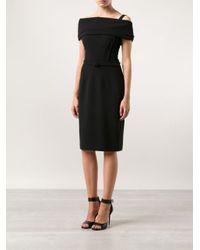 Oscar de la Renta Black Off-The-Shoulder Fitted Dress