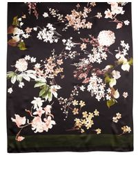 Brooks Brothers Black Satin Floral Oblong