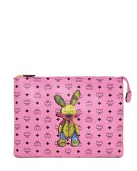 MCM Pink Medium Rabbit Printed Faux Leather Pouch