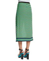 Michael Kors - Green Hexagon-print Silk Georgette Skirt - Lyst