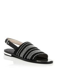 French Connection | Black Studded Ankle Strap Sandals - Happy | Lyst
