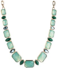 Anne Klein | Gold Multi Green Frontal Collar Necklace | Lyst