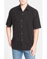 Tommy Bahama Black 'aloha Floral' Silk Camp Shirt for men