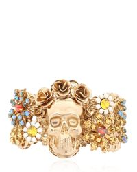 Halo   Metallic English Garden Skull Cuff Bracelet   Lyst