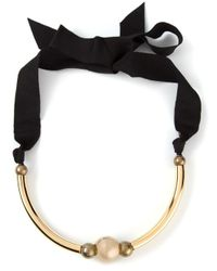 Lanvin - Black Beaded Necklace - Lyst