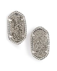 Kendra Scott | Metallic 'ellie' Oval Stone Stud Earrings - Platinum Drusy/ Silver | Lyst
