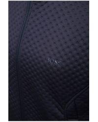 BOSS Green | Blue Sweatshirt Jacket 'samwell' With An All-over Texture for Men | Lyst