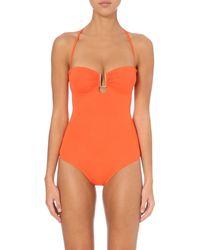 Melissa Odabash Orange Bandeau Padded Swimsuit