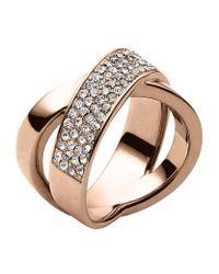 Michael Kors | Metallic Pavã© Crossover Ring | Lyst