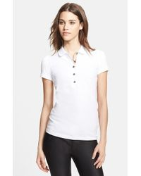 Burberry Brit | White Check Trim Polo | Lyst