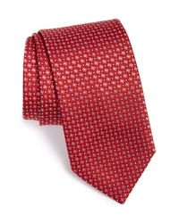 Brioni | Red Grid Woven Silk Tie for Men | Lyst