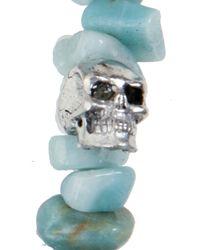 Duchess Of Malfi | Blue Aquamarine Large Skull Bracelet | Lyst