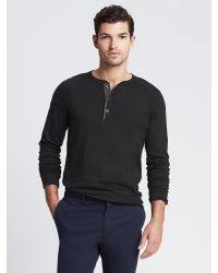 Banana Republic - Black Textured Cotton Long-sleeve Henley for Men - Lyst