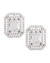 Platinum Heart - Green Emerald-Cut Diamond Earrings With Illusion Setting And Double Halos - Lyst