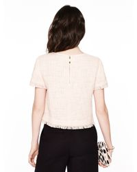 Kate Spade | Pink Tweed Fringe Short Sleeve Top | Lyst