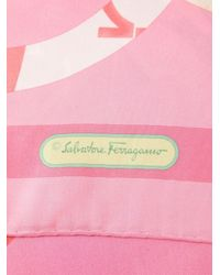 Ferragamo Pink Gancini And Butterfly Print Scarf